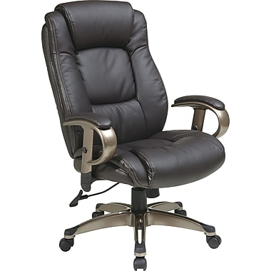 Office Star ECH52661-EC1 Work Smart Eco Leather Executive Chair with Adjustable Arms, Espresso