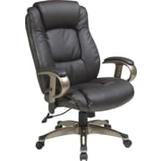 Office Star WorkSmart™ Eco Leather Executive Chair with Height Adjustable Padded Arm Black