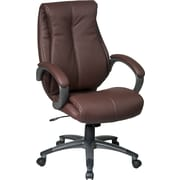 Office Star WorkSmart™ Eco Leather Executive Chair with Padded C Arms with Coated Base, Wine