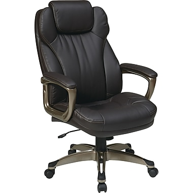 Office Star Worksmart High-Back Eco Leather Executive Chair, Fixed Arm, Brown