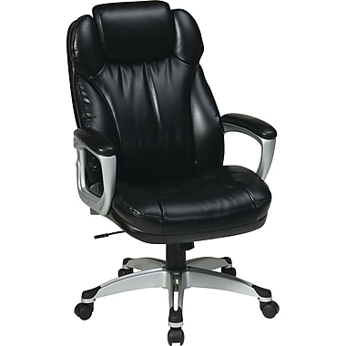 Office Star ECH85806-EC3 Work Smart Eco Leather High-Back Executive Chair with Fixed Arms, Black