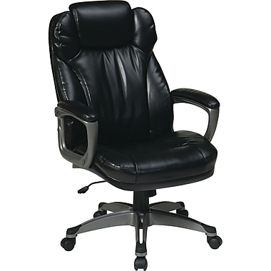 Office Star WorkSmart™ Eco Leather Executive Chair with Headrest, Black