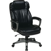 Office Star ECH85807-EC3 Work Smart Eco Leather High-Back Executive Chair with Fixed Arms, Black