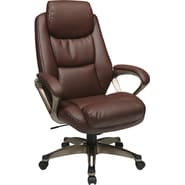 Office Star WorkSmart™ Eco Leather Executive Chair, Cocoa / Wine
