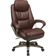 Office Star WorkSmart Leather Executive Office Chair, Fixed Arms, Cocoa/Wine (ECH89181-EC6)