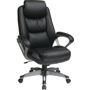 Office Star WorkSmart™ Eco Leather Executive Chair with Titanium Frame, Black