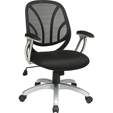Office Star WorkSmart™ Mesh Screen Back Manager Chair with Padded in.Tin. Arm, Black