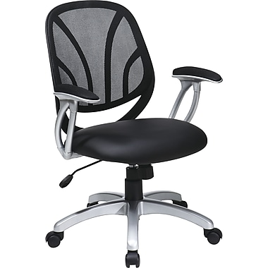 Office Star WorkSmart™ Faux Leather Screen Back Manager Chair with Padded in.Tin. Arm, Black