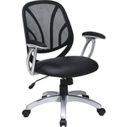 Office Star WorkSmart™ Faux Leather Screen Back Manager Chair with Padded T Arm, Black