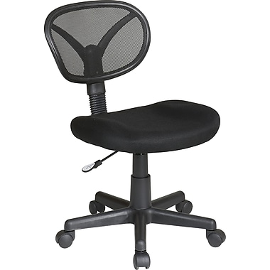 Office Star EM20600-3 Work Smart Mesh Armless Task Chair, Black