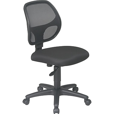 Office Star Work Smart Mesh Task Chair, Armless, Black