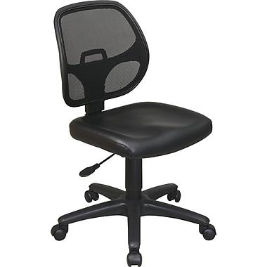 Office Star Mesh Screen Back Task Chair, Black Vinyl