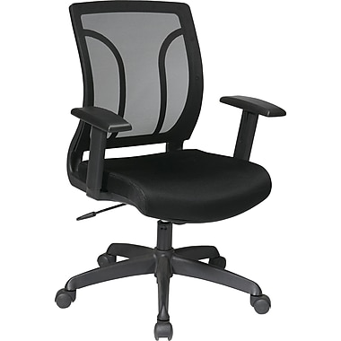 Office Star WorkSmart Mesh Computer and Desk Office Chair, Adjustable Arms, Black (EM50727-3)