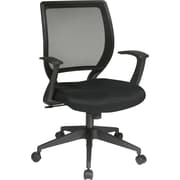 Office Star Black Mid-Back Swivel Mesh Task Chair, Fixed Arms