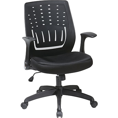 Office Star WorkSmart Mesh Managers Office Chair, Adjustable Arms, Black (EM59415-3)