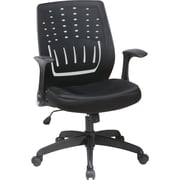 Office Star EM59415-3 Work Smart Mesh Mid-Back Managers Chair with Adjustable Arms, Black