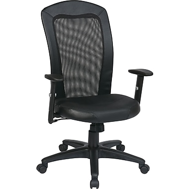 Office Star WorkSmart High-Back Leather Executive Chair, Adjustable Arms, Black