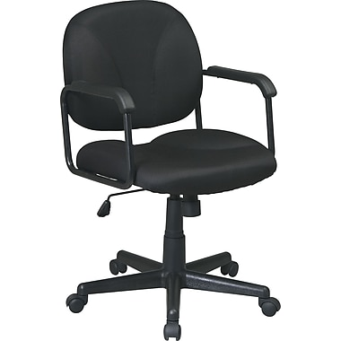 Office Star WorkSmart Fabric Managers Office Chair, Fixed Arms, Black (EX3301-231)