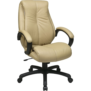Office Star WorkSmart™ Leather Deluxe High Back Executive Chair, Tan