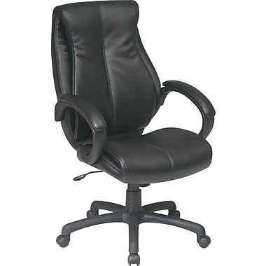 Office Star WorkSmart™ Leather Deluxe High Back Executive Chair, Black