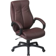 Office Star WorkSmart™ Leather Deluxe High Back Executive Chair, Wine