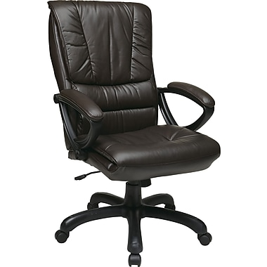 Office Star WorkSmart™ Leather High Back Executive Chairs with Padded Loop Arms