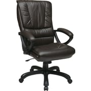 Office Star WorkSmart™ Leather High Back Executive Chair with Padded Loop Arm, Espresso