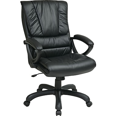 Office Star WorkSmart™ Leather High Back Executive Chair with Padded Loop Arm, Black