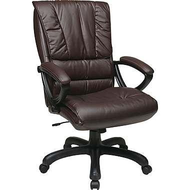 Office Star WorkSmart™ Leather High Back Executive Chair with Padded Loop Arm, Wine
