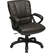 Office Star WorkSmart™ Leather Mid Back Executive Chairs with Padded Loop Arms