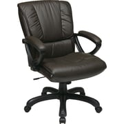 Office Star WorkSmart™ Leather Mid Back Executive Chair with Padded Loop Arm, Espresso