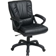 Office Star WorkSmart™ Leather Mid Back Executive Chair with Padded Loop Arm, Black