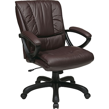 Office Star WorkSmart™ Leather Mid Back Executive Chair with Padded Loop Arm, Wine