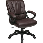 Office Star EX6711-G6 Work Smart Leather Mid-Back Executive Chair with Fixed Arms, Wine
