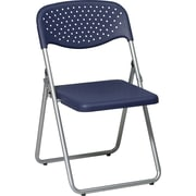 Office Star WorkSmart™ Plastic Seat Folding Chair with Back, Blue
