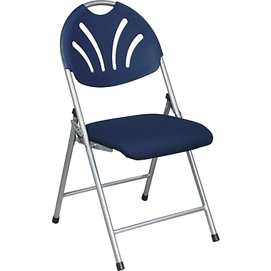 Office Star WorkSmart™ Fabric Folding Chair with Plastic Fan Back, Blue