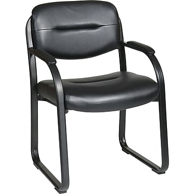 Office Star WorkSmart™ Faux Leather Guest Chair with Sled Base, Black