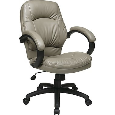 Office Star WorkSmart™ Faux Leather Manager's Chair with Locking Tilt Control, Smoke