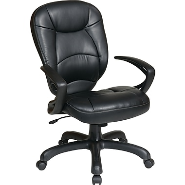 Office Star WorkSmart™ Deluxe Faux Leather Oversized Task Chair with Padded Arm, Black