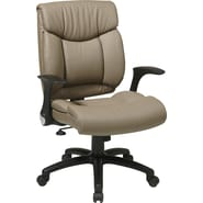 Office Star Faux Leather Manager Chair with Flip Arm, Chocolate Faux Leather Seat