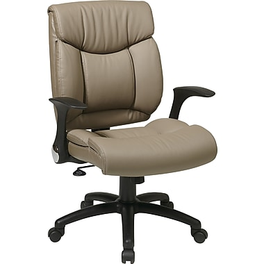 Office Star Faux Leather Manager Chairs with Flip Arms