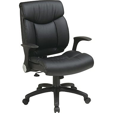 Office Star Faux Leather Manager Chair with Flip Arm, Black Faux Leather Seat