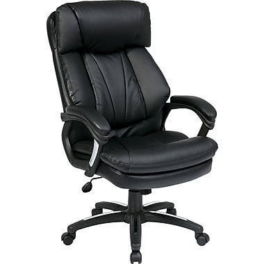 Office Star FL9097-U6 Work Smart Faux Leather Executive Chair with Adjustable Arms, Black