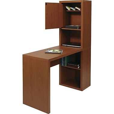 Office Star FS19PN Fusion Library Desk with Storage compartment, Pecan Finish