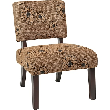Office Star Avenue Six® Wood Jasmine Accent Chair, Flower Mocha