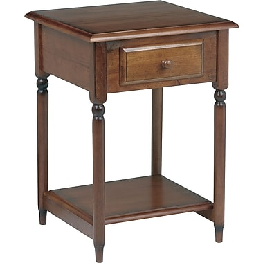 Office Star Knob Hill 27 1/2in. H x 19'' W x 19 1/2'' D Veneers and Solid Wood Accent Table, Cherry