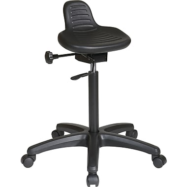 Office Star WorkSmart™ Saddle Seat Stool with Seat Angle Adjustment, Black