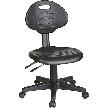 Office Star WorkSmart™ Urethane Ergonomic Stool with Seat Tilt and Back Angle Adjustment, Black