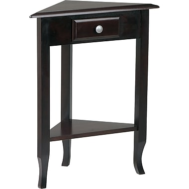 Office Star OSP Designs™ 29'' H x 23'' W x 13'' D Veneers and Solid Wood Corner Table, Dark Merlot