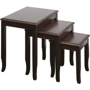 Office Star WorkSmart™ Small/Medium/Large Veneers and Solid Wood 3-piece Nesting Table, Merlot